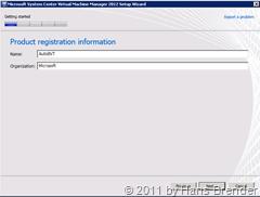 Produkt Registrierung SCVMM 2012 Beta