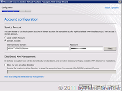 Konfiguration Service Account  in SCVMM 2012 Beta