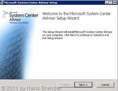 Startbildschirm System Center Advisor bei der Installation
