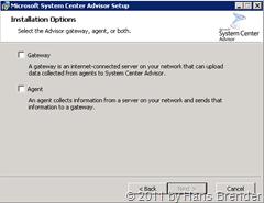 System Center Advisor: Installationsauswahl: Gateway und/oder Agent