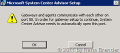 System Center Advisor Setup: warnhinweis Port 80