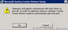 System Center Advisor Setup: warnhinweis Port 80