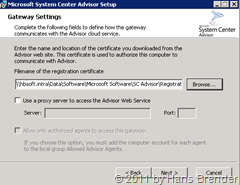 System Center Advisor Setup: Gateway Einstellungen