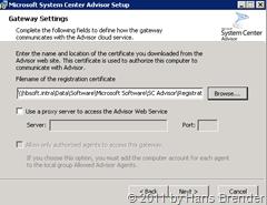 System Center Advisor Setup: Gateway Einstellungen