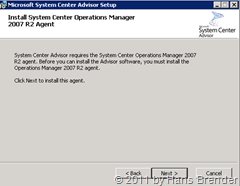 System Center Advisor Setup: Agent