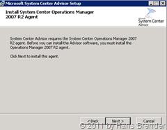 System Center Advisor Setup: Agent