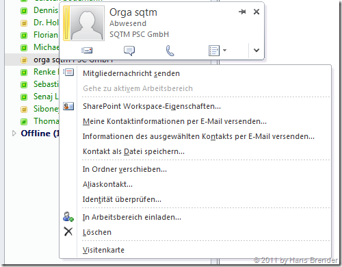 Alternative bei der Kommunikation in SharePoint Workspace 2010