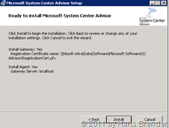 System Center Advisor Setup: Installation des Agenten
