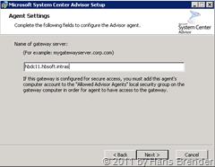 System Center Advirsor Agent Setup: Es wird nach dem Gateway gefragt