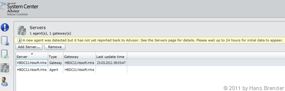System Center Advisor: Screenshot des Browsers nach der Installation