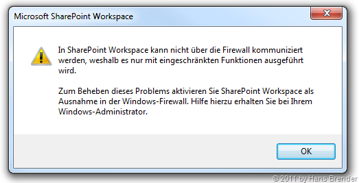 SharePoint Workspace und Firewall Ausnahme