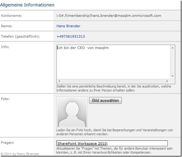 Office 365: SharePoint Online: Meine Website: Profildaten ändern: Bild auswählen