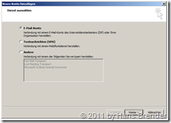 Outlook 2010: neues Konto hinzufügen