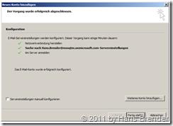 Outlook 2010: neues Konto und Serverdaten wurden gefunden