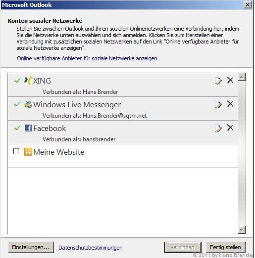 Outlook 2010: Einstellungen zu sozialen Netzwerken