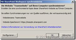 Dialog: Mit SharePoint Workspace synchronisieren