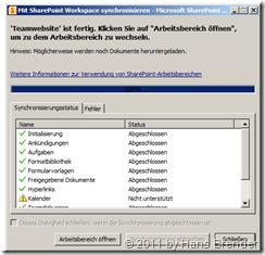 Abschluss Synchroniserung von SharePoint Inhalten