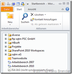 Arbeitsbereich einer synchroniserten Website in SharePoint Workspace 2010