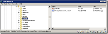Regedit: HKEY_CURRENT_USER\Software\Microsoft\Office\14.0\Common\Internet