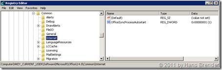 Regedit: HKEY_CURRENT_USER\Software\Microsoft\Office\14.0\Common\Internet
