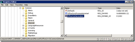 Regedit: HKEY_CURRENT_USER\Software\Microsoft\Office\14.0\Common\Internet neuer Wert