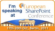 I'm speaking at the European SharePoint Conference