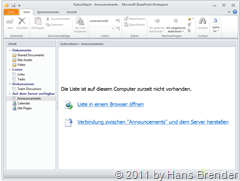 Synchronisation zwischen SharePoint Workspace 2010 und SharePoint Server 2010