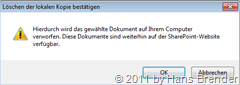 Warnmeldung in SharePoint Workspace 2010