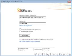 Anmeldebildschirm zu Office 365