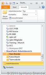 SharePoint Workspace 2010: selektieren nach Typ