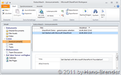 Selektion einer SharePoint Bibliothek in SharePoint Workspace 2010