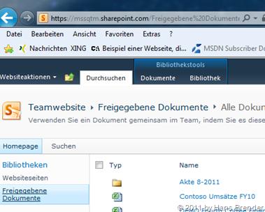 Bibliothek auf dem SharePoint Server 2010