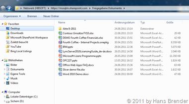 SharePoint Server Dokumentenbibliothek  Explorer-Ansicht