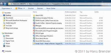 Drag&Drop von Mails in SharePoint 2010 Bibliothek