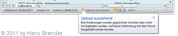 Hinweis des Office Upload Centers