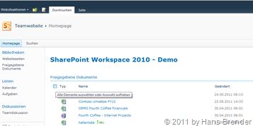 Ansicht des Dokumentenarbeitsbereiches im SharePoint Server 2010
