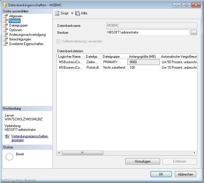 Vergrößern einer Datenbank im SQL Server 2008