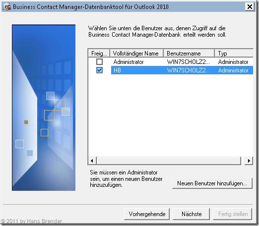 Auswahl der Benutzer für die Rechtezuweisung im BCM Datenbank-Tool