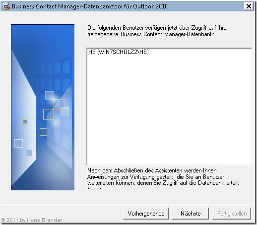 Anzeige der Benutzer für die Rechtezuweisung im BCM Datenbank-Tool