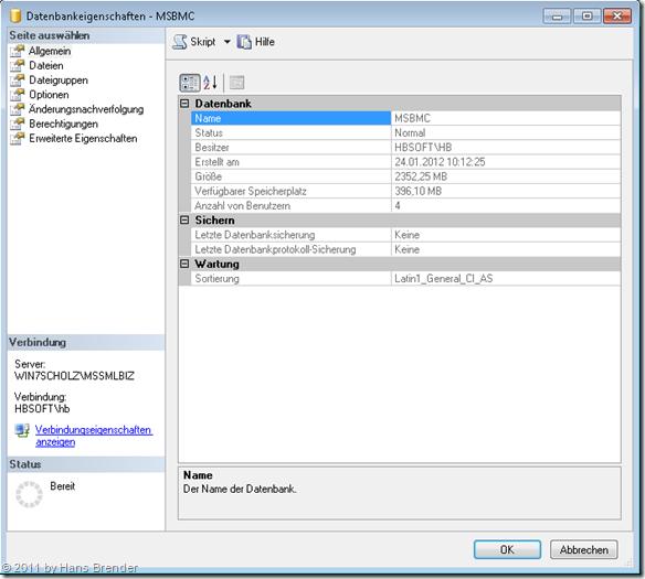 Eigenschaften der Datenbank im SQL Server 2008