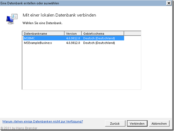 Auswahl der BCM Datenbank in Outlook 2010