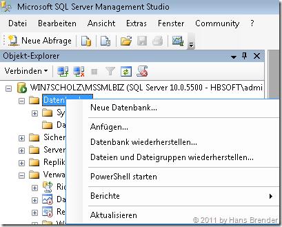 Anfügen einer Datenbank im SQL Server 2008