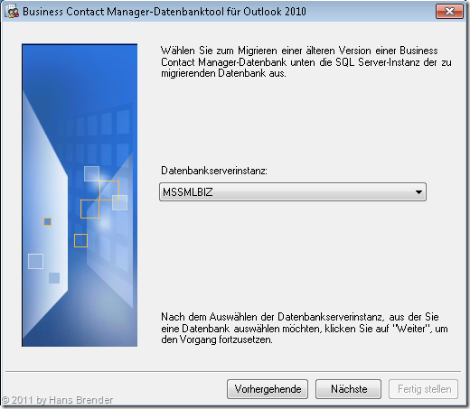 Auswahl der  SQL Server Instanz des BCM 2010