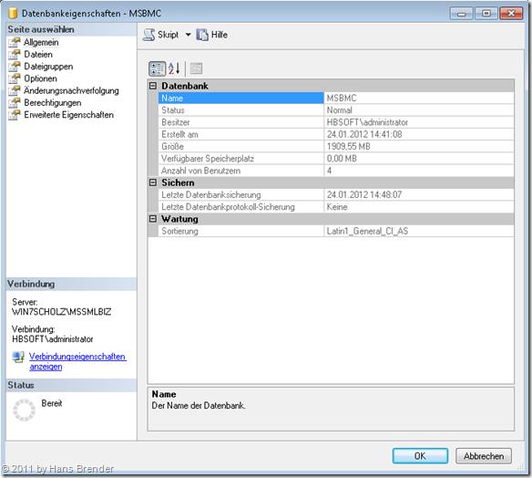 Die BCM Datenbank nach der Verkleinerungsprozess