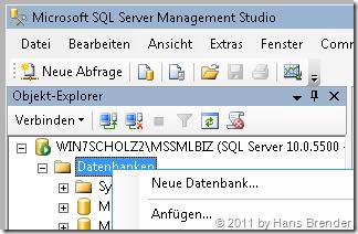 Anfügen (Attach) der konvertierten DBMC Datenbank