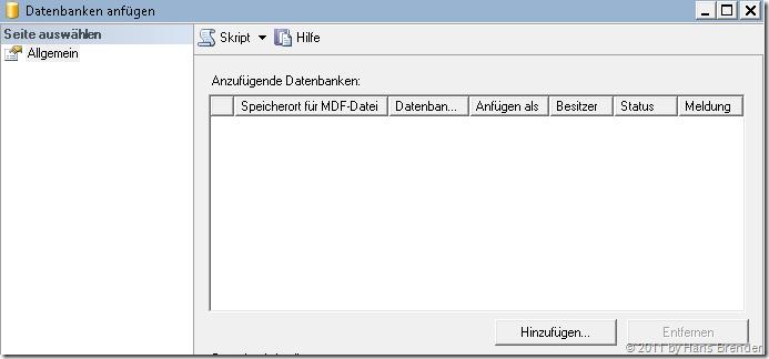 Auswahl der Dateien zum Anfügen der Datenbank