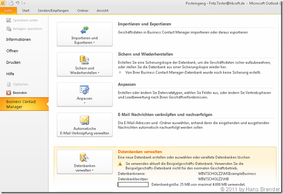 Aktivieren der BCM Datenbank in Outlook 2010