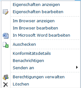 Standard-Möglichkeiten in einer Dokumentenbibliothek von Office 365