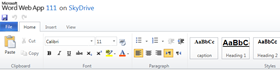 Word Web App in Skydrive