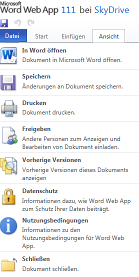 Unterschied: Word Web App  in Skydrive: